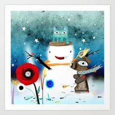 Aurora Australis Christmas Whimsical Stars Art Print