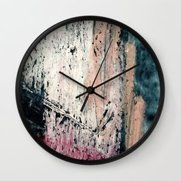 Kelly: a bold, textured, abstract mixed media piece in bright pinks, blues, and white Wall Clock