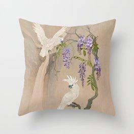 Cockatoos and Wisteria Throw Pillow