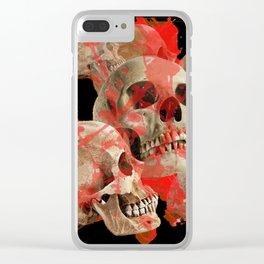 MACABRE BLOOD & SKULLS BLACK  ART Clear iPhone Case