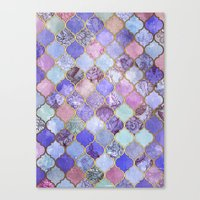 moroccan Canvas Prints featuring Royal Purple, Mauve & Indigo Decorative Moroccan Tile Pattern by micklyn