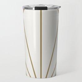 Diamond Series Sun Burst Gold on White Travel Mug