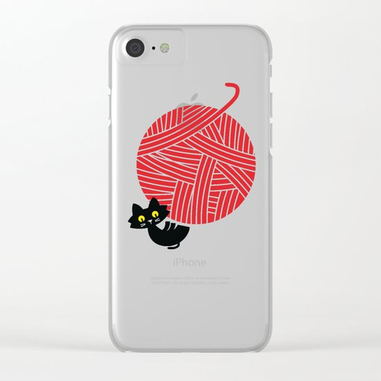 Fitz - Happiness (cat and yarn) Clear iPhone Case
