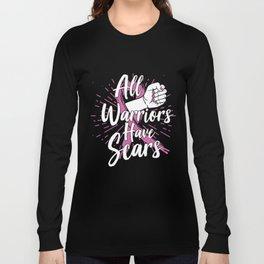 Breast Cancer Awareness Art For Warrior Women Dark Long Sleeve T-shirt