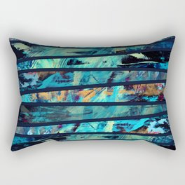 Undaunted A - Abstract in Black and Blue Rectangular Pillow