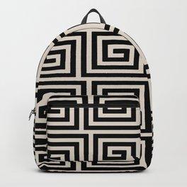 Greek Key Pattern 123 Black and Linen White Backpack