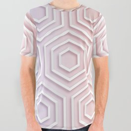 3D Hexagon Gradient Minimal Minimalist Geometric Pastel Soft Graphic Rose Gold Pink All Over Graphic Tee