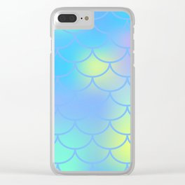 Turquoise Mermaid Pattern Clear iPhone Case