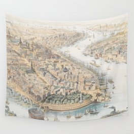 Vintage Pictorial Map of New York City (1852) Wall Tapestry