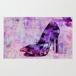 High heel female shoe watercolor art Rug