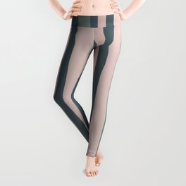 Gray-Green and Mauve Pink Vertical Stripes Leggings