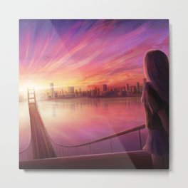 Anime Girl Bridge Sunset Metal Print