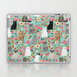 Cats floral mixed breed cat art cute gifts for cat ladies cat lovers pet art Laptop & iPad Skin