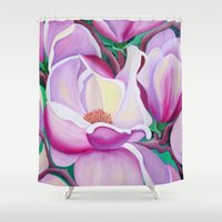 magnolia Shower Curtains featuring Magnolia by marlene holdsworth