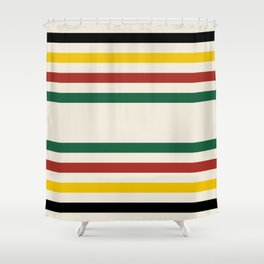 Rustic Lodge Stripes Black Yellow Red Green Shower Curtain