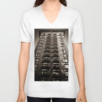 building V-neck T-shirts featuring SF Building by Mark Alder
