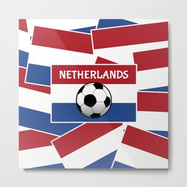 Netherlands Flag Football Metal Print