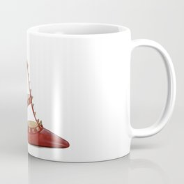 Valentino Rockstud pumps fashion illustration red gold Coffee Mug