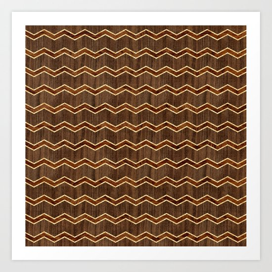Wooden Chevron - Dark Art Print