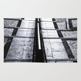 lines and stairs in black and white Rug
