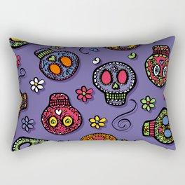 Sugar Skulls (on purple) - calavera, skull,  halloween, illustration Rectangular Pillow