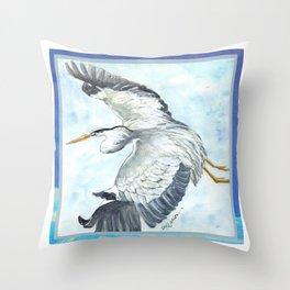 Soaring Heron Throw Pillow