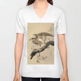 Ohara Koson, Hawk On The Tree Branch - Japanese Vintage Woodblock Print Unisex V-Neck