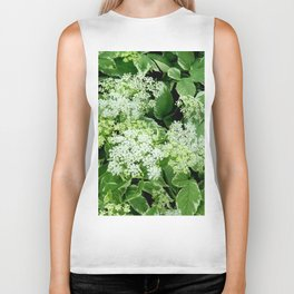 AWESOME DELICATE GREEN LACE FLOWERS Biker Tank