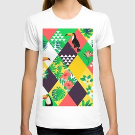 Tropical Colorful Geometric Birds T-shirt
