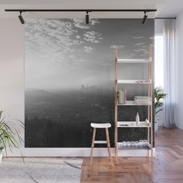 Los Angeles. L.A. Skyline. Black and White. Jodilynpaintings. Sunrise. Sunset. Cityscape. California Wall Mural