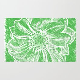 White Flower On Tech Green Crayon Rug