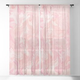 Blush pink abstract watercolor marble pattern Sheer Curtain