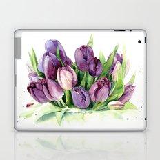 Watercolor bouquet of tulips Laptop & iPad Skin