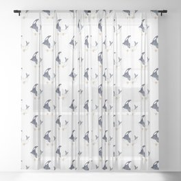 Killer whale taking bath watercolor Sheer Curtain