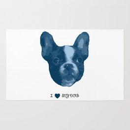 I love my dog - French Bulldog, blue Rug