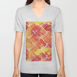 Orange Watercolor Streaks Abstract Pattern Unisex V-Neck