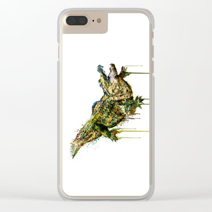 Alligator Watercolor Painting Clear iPhone Case