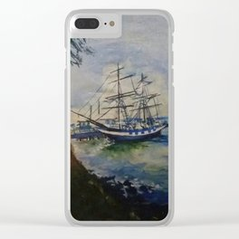 A Cobalt Ship Clear iPhone Case