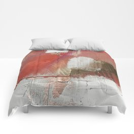 The Little Things: a minimal, abstract piece in reds and gold by Alyssa Hamilton Art Comforters