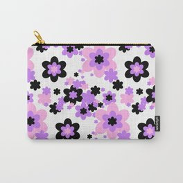 Pink Purple Black Floral Carry-All Pouch