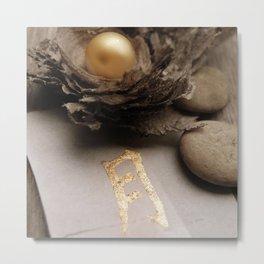 golden character and golden ball Metal Print