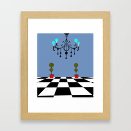 A Chandler with Checkered Tile and Topiaries Framed Art Print