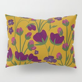 Purple and Gold Floral Seamless Illustration Pillow Sham