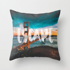 ESCAPE - wall tapestry - travel - water - sky - landscape nature photography golden gate bridge love Throw Pillow