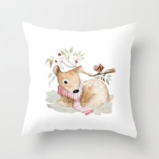 Watercolor Christmas fawn Throw Pillow