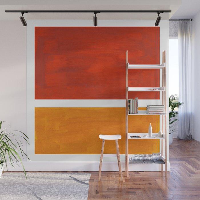Burnt Orange Yellow Ochre Mid Century Modern Abstract Minimalist Rothko Color Field Squares Wall Mural