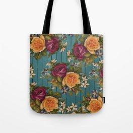 Vintage green wood coral burgundy roses floral Tote Bag