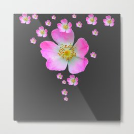 WILD PINK ROSE CASCADE ON CHARCOAL GREY Metal Print