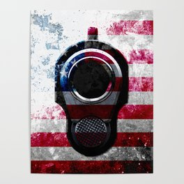 M1911 Colt 45 and American Flag on Distressed Metal Poster