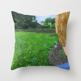 bubbles in the backyard Throw Pillow